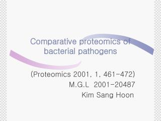Comparative proteomics of bacterial pathogens