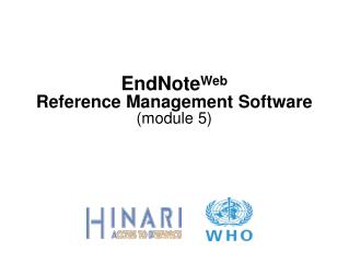 EndNoteWeb  Reference Management Software module 5