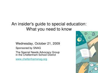 An insiders guide to special education:  What you need to know