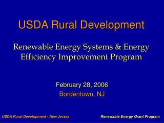 USDA Rural Development   Renewable Energy Systems  Energy Efficiency Improvement Program