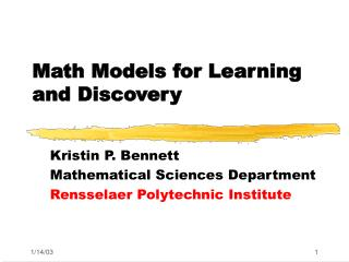 Math Models for Learning and Discovery