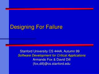 Designing For Failure