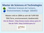 Master de Sciences et Technologies Mention Sciences de l univers, Environnement, Ecologie  SDUEE