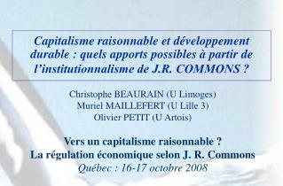 Capitalisme raisonnable et d veloppement durable : quels apports possibles   partir de l institutionnalisme de J.R. COMM