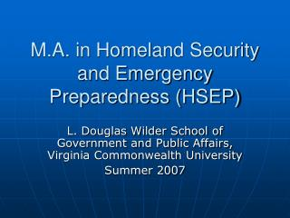 M.A. in Homeland Security and Emergency Preparedness HSEP