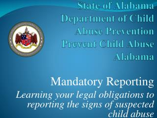 State of Alabama Department of Child Abuse Prevention Prevent Child Abuse Alabama