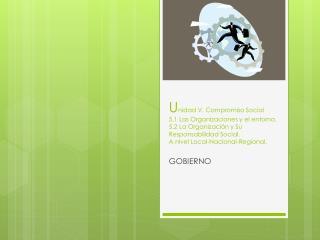 Unidad V. Compromiso Social 5.1 Las Organizaciones y el entorno. 5.2 La Organizaci n y Su Responsabilidad Social. A nive