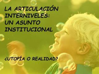 LA ARTICULACI N  INTERNIVELES:  UN ASUNTO  INSTITUCIONAL