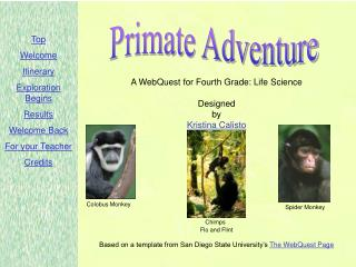 A WebQuest for Fourth Grade: Life Science  Designed by Kristina Calisto          Chimps  Flo and Flint  Based on a templ