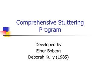 Comprehensive Stuttering Program