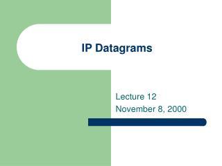 IP Datagrams
