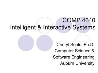 COMP 4640 Intelligent  Interactive Systems