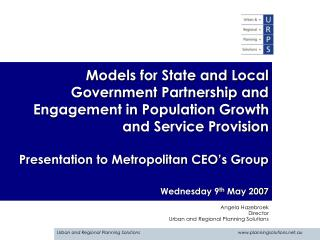 Models for State and Local Government Partnership and Engagement in Population Growth and Service Provision  Presentatio