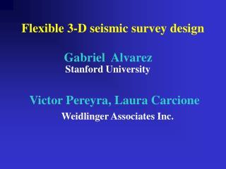 Flexible 3-D seismic survey design                   Gabriel  Alvarez      Stanford University        Victor Pereyra, La