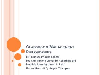 Classroom Management Philosophies
