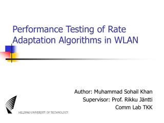 Performance Testing of Rate Adaptation Algorithms in WLAN