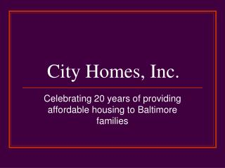City Homes, Inc.