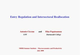Entry Regulation and Intersectoral Reallocation