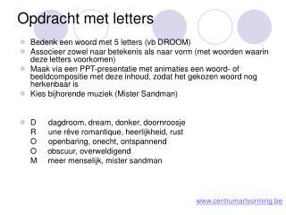 Opdracht met letters