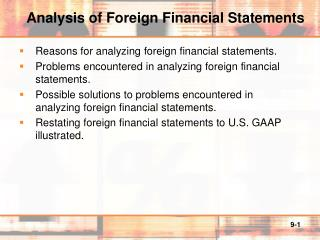 Analysis of Foreign Financial Statements