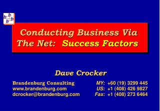 Conducting Business Via  The Net:  Success Factors