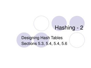Hashing - 2
