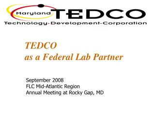 TEDCO  as a Federal Lab Partner