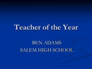 Opportunities as NH Teacher of the Year