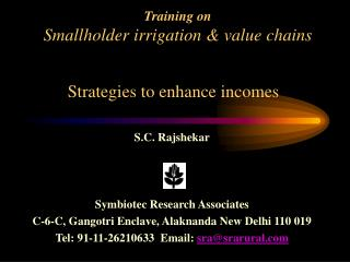 Training on Smallholder irrigation  value chains