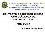 CONSELHO FEDERAL DE CORRETORES DE IM VEIS   COFECI E CONACI-CONGRESSO NACIONAL DE CORRETORES DE IM VEIS -