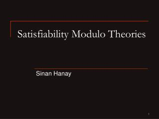 Satisfiability Modulo Theories