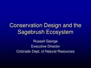 Conservation Design and the Sagebrush Ecosystem