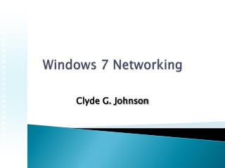 Windows 7 Networking