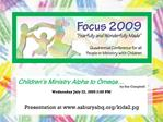 Children s Ministry Alpha to Omega