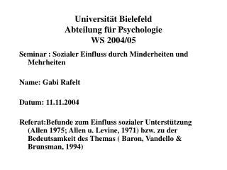 Universit t Bielefeld Abteilung f r Psychologie WS 2004