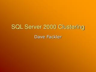 SQL Server 2000 Clustering