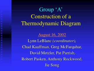 Group  A  Construction of a Thermodynamic Diagram