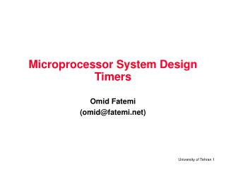 Microprocessor System Design Timers
