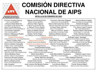COMISI N DIRECTIVA  NACIONAL DE AIPS SEVILLA 26 DE FEBRERO DE 2009