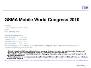 GSMA Mobile World Congress 2010