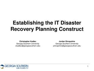 Establishing the IT Disaster Recovery Planning Construct