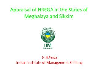 Appraisal of NREGA in the States of Meghalaya and Sikkim