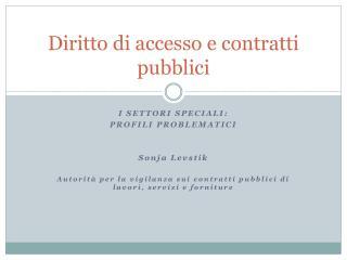 Diritto di accesso e contratti pubblici