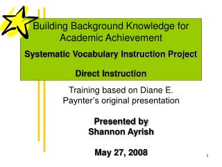 Training based on Diane E. Paynter s original presentation  Presented by Shannon Ayrish  May 27, 2008