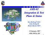 AMS-02 Integration  Test Plans  Status