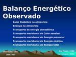 Balan o Energ tico Observado
