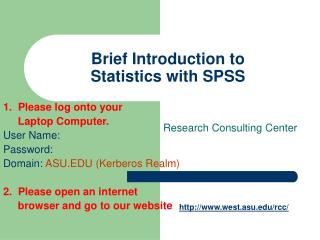 Brief Introduction to  Statistics with SPSS