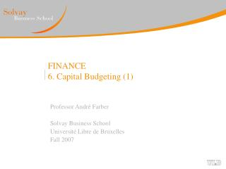 FINANCE 6. Capital Budgeting 1
