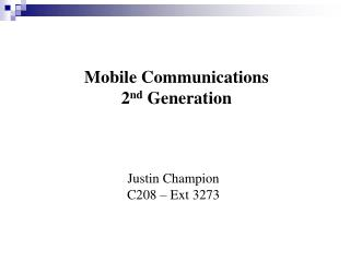 Mobile Communications 2nd Generation