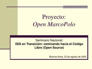 Proyecto: Open MarcoPolo